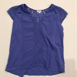Anthropology Meadow Rue Blue Lace Sleeve Top - M
